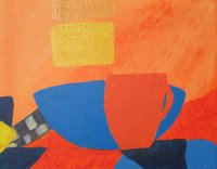 Week 2 of painting class for beginners. Using contrasting colors: blue and orange