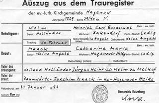 Carl Kolm and Maria Maack marriage record