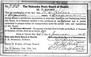 Will's Embalming License