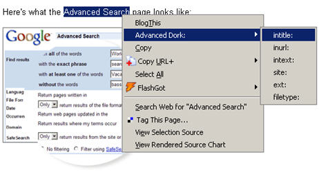 Advanced%20Dork Google Hacker Firefox Extension : Advanced Dork