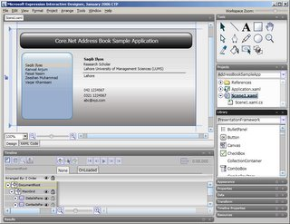 Address Book Application in the Expression Interactive Designer