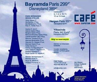 Bayramda Paris 299€ (Café Turizm)