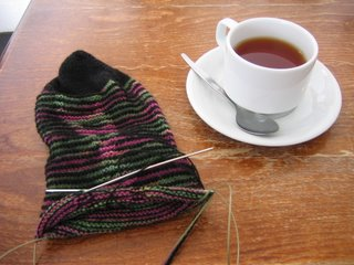 tea and knitting in padstow