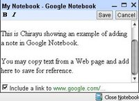 Adding a note in Google Notebook