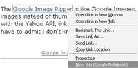Adding a textlink to Google Notebook