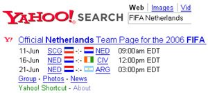 Yahoo! shortcut for football world cup match schedule