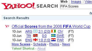 Find the latest football world cup 2006 scores and match results with Yahoo! shortcut