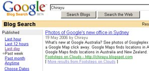 Google Blogsearch sorts results by date