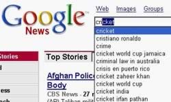 Google suggests News searches with dropdown items in the search box