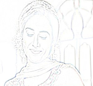 Pencil sketch of Bollywood film star Vidya Balan
