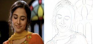 Convert a colour photo to a pencil sketch - Photos of Bollywood film star Vidya Balan