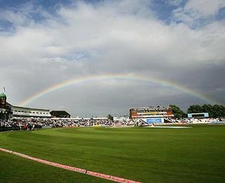 Rainbow above the cricket ground