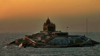 Swami Vivekananda Rock Memorial, Kanyakumari, the southernmost tip of India. It is a tourist and pilgrimage attraction.