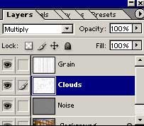 Apply Multiply mode to the Clouds layer