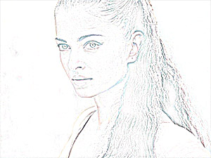 Pencil Sketch of Aishwarya Rai photoshopped with High Pass filter