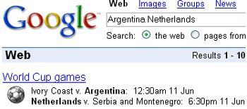 Google football world cup results on homepage