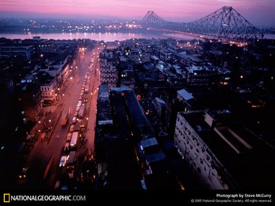 Dawn over Howrah bridge, Kolkata, India