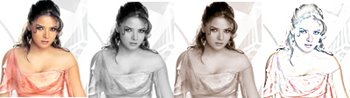 Colours of Udita Goswami - Udita in pink, black and white, sepia, and a pencil sketch