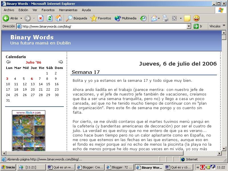 Esta es una captura de pantalla del blog Binary Words; una futura mamá en Dublín. Para verla a tamaño completo hacé clic ahora.