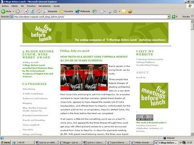 Esta es una captura de pantalla del blog Five blogs before lunch. Para verla a tamaño completo hacé clic ahora.