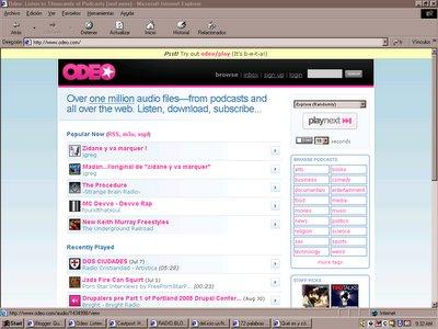 Esta es la página principal de Odeo. Para verla a tamaño completo, clic ahora.