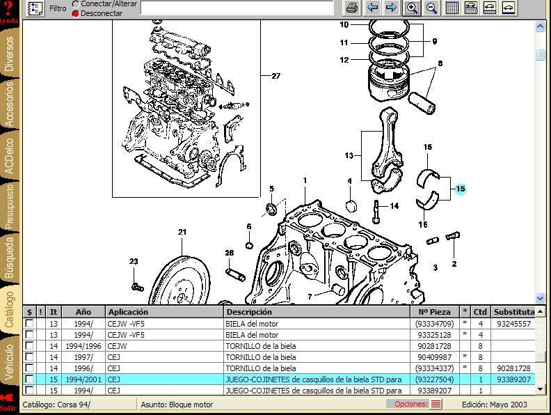 Opel Corsa - Manual De Partes Y Piezas  Gm