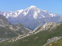 Vanoise, entre le col de Fresse et le col du Palet, vue sur le Mont Blanc éloigné d'environ 60 kilomètres