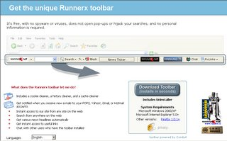 Click anywhere to download the Runnerx Toolbar