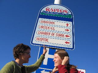 Lindsey & Ingrid at the Wisconsin Rapids sign