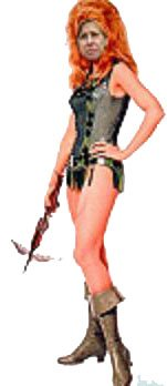 Graphic By KSFO Radio, San Francisco Cindy Sheehan as Barbarella.