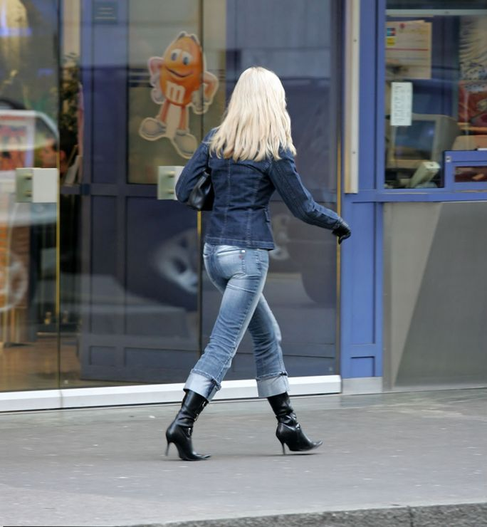 Candid Short Skirts, Boots and Tight Tops
