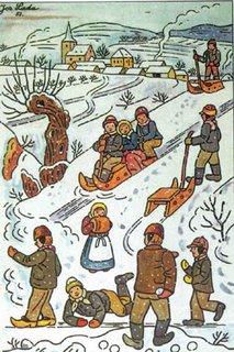Josef Lada sledding scene