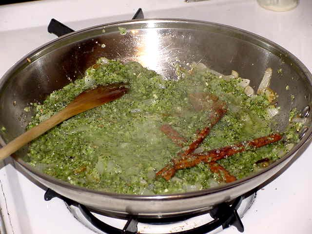 Add cilantro-onion-garlic-poppy seed paste and fry well.