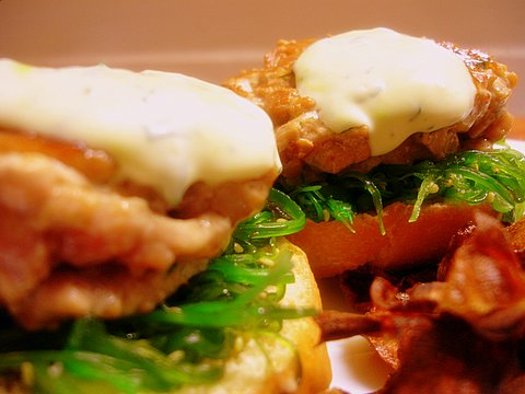 The Unemployed Cook: Open-Faced Tuna Burgers with Wasabi Mayonnaise
