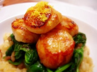 ... Unemployed Cook: Seared Scallops Over Wilted Spinach and Lemon Risotto