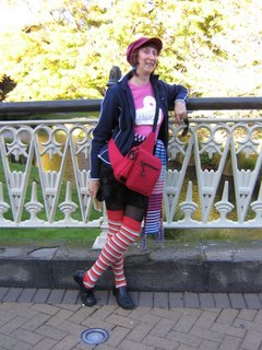 Photo by Rullsenberg: Lisa in stripey socks in Christchurch