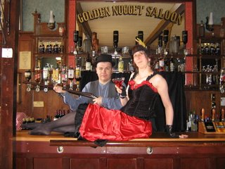 Photo taken on behalf of Rullsenberg: a bar-girl and her boss (aka Rullsenberg and Cloud dressing up in Shantytown, New Zealand)