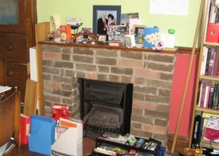 Photo by Rullsenberg: living room fireplace 1970s bricks