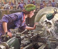 Women at work, a typical factory scene with typical wartime headdress. Her husband probably away fighting