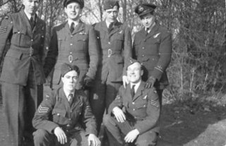 Maurice Morgan-Owen with his crew of Lancaster II DS682 JI-N. Identified are: Back row left to right - unknown Airman, F/Officer Morgan-Owen, Sgt Herbert Stanley Hayward, F/Officer George Alexander Jacobson, RAAF. Other three Airman are any of the following - Sgt Alfred Douglas Tetley, Sgt Henry Sadler, Flight Sgt Alan W. Green, and Sgt F. Barrett