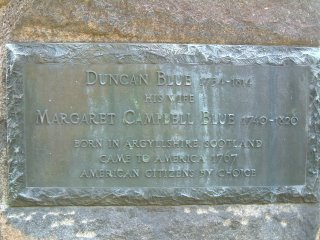 Inscription reads 'Duncan Blue 1734-1814, Margaret Campbell Blue 1740-1820, Born in Argyllshire, Scotland, Came to America 1767, American citizens by choice.'