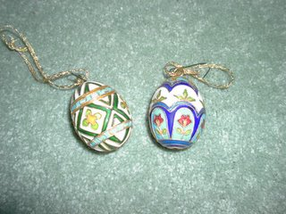 Thought I better get a couple of the traditional looking Cloisonnè eggs. These ones are pretty small and they are for our tree.