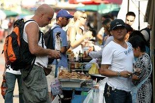 Eating in Khaosarn Road Bangkok Thailand