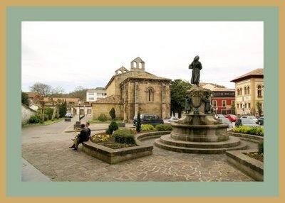 Mariano Belliure y Gil: Monumento a Obdulio Fernández (1927-1932). Al fondo, la cabecera de la iglesia de la Oliva a la izquierda, y a la derecha, la fundación Cardín hacia donde mira la manzanera y 'les escuelones'.