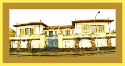 Vista general de edificio de la Escuela de San Juan de Amandi, 1923. Villaviciosa. Fotomontaje.