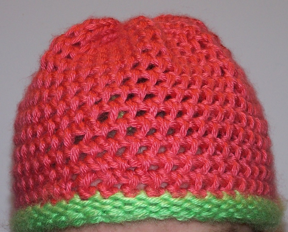 Off the Loom: papaya-limelight mock crochet hat