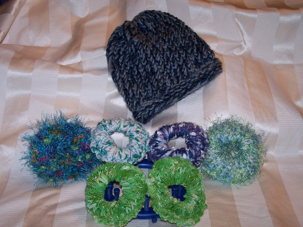 Off the Loom: Six Scrunchies and a Hat.