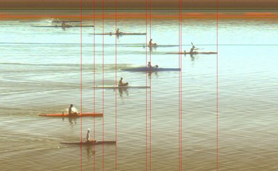 Finish photo from 2006 world flatwater canoe-kayak championships, showing typical pattern of lanes