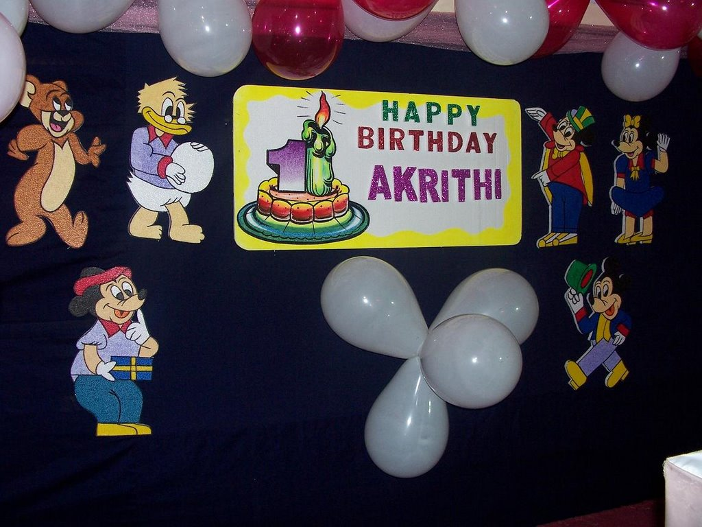 Akrithi 1st birthday stage decoration pictures for 1st birthday stage decoration