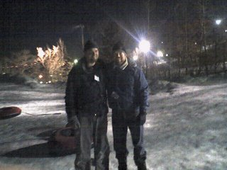 Dan and Matt snow tubing at Buck Hill